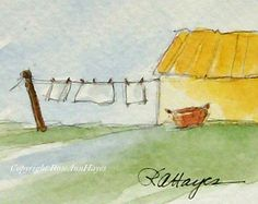 Items similar to Laundry Day Miniature Watercolor Painting Wash Day Laundry Room Art Housewarming Gift on Etsy Watercolor Projects, Watercolor Cards, Watercolor And Ink, Watercolour Painting, Watercolors, Watercolor Architecture, Watercolor Landscape, Landscape Paintings, Laundry Room Art