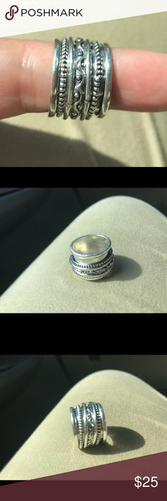 Ring - spinner ring size 5 Stunning Spinner Ring.  Size 5 NWT Sterling Silver 925 center rings spins (visit my instagram for a video) Jewelry Rings