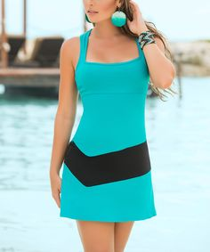 Another great find on #zulily! AM PM Turquoise & Black Square Neck Sheath Dress by AM PM #zulilyfinds