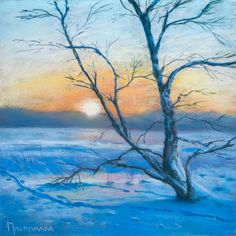 Birch tree in the winter by Olli Malmivaara Soft pastel painting on sanded paper 24 x 24 cm