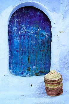 Stock Photo #1566-0106950, Typical indigo door in Chechaouene. Rif region, Morocco