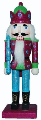 N106: 10 inch Nutcracker with Green and Raspberry Jacket