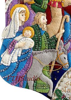 Bucilla Christmas Stocking The Procession 86055 Felt Applique Kit for sale online Christmas Stocking Kits, Felt Christmas Stockings, Crochet Christmas Ornaments, Diy Stockings, Christmas Art, Christmas Projects, Hardanger Embroidery, Diy Embroidery, Embroidery Patterns