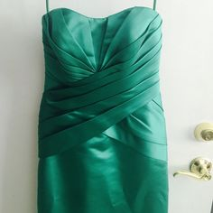 Priscilla of Boston bridesmaid or prom gown/ dress Gorgeous and sexy green satin could be used with or without straps. Like new conditions Pricilla of boston Dresses