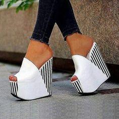 Only 3 Days Left Shoespie White Platform Slip-On Peep Toe Wedge Heels Peep Toe Wedges, Wedge Sandals, Pearl Sandals, Hot High Heels, White Shoes, White Wedges, Mules Shoes, Shoes Sandals, Girls Shoes