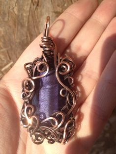 Unique Oxidized Copper Wire Chaos Wrap Purple by CraftsbyLayna, $20.00