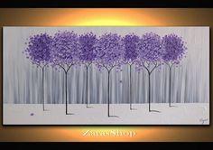 Großer moderner Hauptdekor lila Lavendel Baum Malerei von ZarasShop