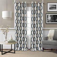 Renzo Geometric Grommet Single Curtain Panel Reviews ❤ liked on Polyvore featuring home, home decor, window treatments, curtains, geometric curtains, grommet draperies, grommet window panels, grommet drapery panels and grommet curtain panels