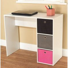 Student Writing Desk with 3 Fabric Bins, Multiple Colors - Walmart.com