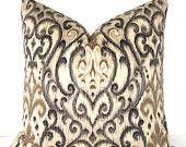 Decorative Pillow Cover - Ikat - 18x18 inches - Gold - Ecru - Black - Grey - Ivory. $42.00, via Etsy.