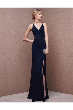 27d75789d0 Sexy V Neck Backless High Slit Long Navy Blue Chiffon Evening Prom Dress  Spaghetti Straps