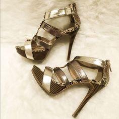 Steve Madden Gold Snakeskin Style Heels