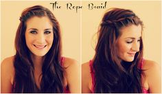 THE ROPE BRAID: If you don't know how, here is a tutorial how to do a rope braid.  I just do one side and pin it up, but you could also just pull a piece from the other side as well.
