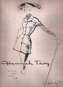 Julius Garfinckel Co, Print Advertisement, Hannah Troy, 1955