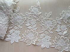 Cream White Lace Trim Super Wide Floral Embroidered Scalloped Lace Trim 13.38 Inches Wide 1 yard  Width: 13.38(34cm)  This lisitng is for 1 yard  All the lace are perfect for lingerie, bra, dresses, dolls, bridal veil, altered art, couture, costume, jewelry design, pillowcase, home decor and other projects you could imagine. If you like it, order it now. For more quantity, please feel free to convo me for custom listing.