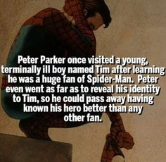 Peter Parker once visited a young. terminally ill boy named Tim after Ieaming he was a huge fan of Spider-Man. so he could pass away having known his hero better than any other fan. Marvel Jokes, Marvel Comics, Math Comics, Marvel Funny, Marvel Heroes, Marvel Avengers, Ms Marvel, Captain Marvel, Punisher Marvel