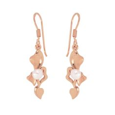 Tumbling Hearts Earrings in Rose Gold over Sterling Silver
