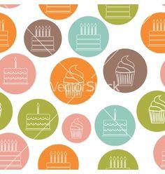 Birthday cake flat seamless pattern background vector - by olegganko on VectorStock®