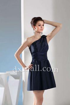 Short Wedding Guest Dresses One Shoulder Short/Mini Taffeta Dark Navy 130010600043