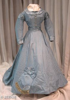 Woman's evening or dinner dress trimmed with silk-satin ruching, 1865-1867. (S1982-64-281 Wm. Penn)  Garibaldis, Engageantes and Cages: American Fashions of the Civil War Era, 1840-1870