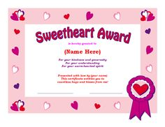 Free Award Templates for Students | Sweetheart Award Certificate Template for Microsoft Word