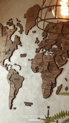Wood World Map 3D Wooden Map DIY Wooden world map wall decor diy map wooden map gift Enjoy The Wood