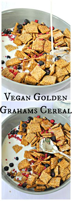 Crispy graham cracker cereal that is insanely delicious and just happens to be vegan and refined sugar free. Perfect with some almond, soy or coconut milk.