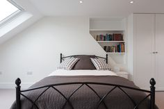 Recessed shelves are a great idea for saving space in a small rear dormer loft conversion, as seen in this beautiful bedroom built by Simply Loft in Balham, South London. Family Bathroom, Small Bathroom, Loft Conversion Tips, Recessed Shelves, South London, Beautiful Bedrooms, Space Saving, Bedroom Ideas, Home And Family