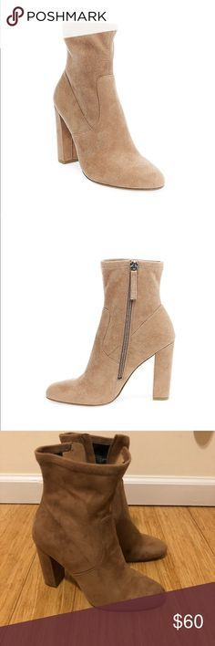 Edit Bootie- Camel/  NEW! Brand new, never worn out of my house. Size 7.5 Steve Madden Edit Bootie in camel suede. Great spring shoe!  Polish your look with the Edit bootie. Microsuede upper. Side zipper closure. Round toe. Textile lining. Lightly-padded footbed. Wrapped block heel. Man-made outsole. Imported. Measurements: Heel Height: 4 in Weight: 12 oz Circumference: 9 in Shaft: 7 3⁄4 Steve Madden Shoes Heels