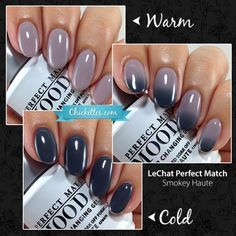 This is a summary of all of the LeChat Perfect Match polishes that I have swatched to-date. I will update this page on an ongoing basis as I swatch new colors. To find a local distributor of LeChat… Mood Changing Nail Polish, Mood Gel Polish, Color Change Nail Polish, Gel Polish Colors, Nail Colors, Colours, Love Nails, How To Do Nails, Pretty Nails