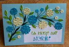 Papírvilág: kék quilling üdvözlet / blue birthday card