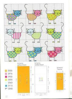 Cross Stitch For Kids, Mini Cross Stitch, Cross Stitch Animals, Cross Stitch Charts, Cross Stitch Designs, Cross Stitch Patterns, Loom Patterns, Cat Cross Stitches, Cross Stitch Bookmarks