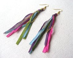 Ribbon Earrings with Gold Chain by tjalaine on Etsy - StyleSays