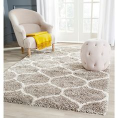 Safavieh Hudson Ogee Shag Grey Background and Ivory Rug (5'1 x 7'6) | Overstock.com Shopping - The Best Deals on 5x8 - 6x9 Rugs