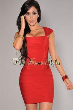 Red Cap Sleeves Bandage Dress