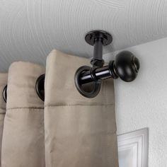 "Winston Porter Lecuyer Single Curtain Rod Color/Finish: Black, Size: 160""- 240"" L"
