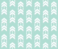 mint chevron stripe fabric by charlottewinter