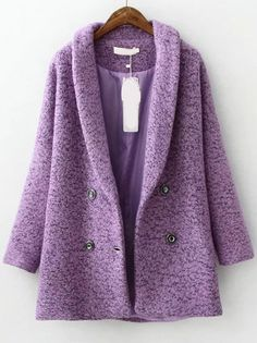 Purple Lapel Double Breasted Woolen Coat , High Quality Guarantee with Low Price!