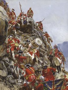 SYW- Britain: Scaling the Heights of Abraham, Seven Years War, by Richard Caton Woodville.