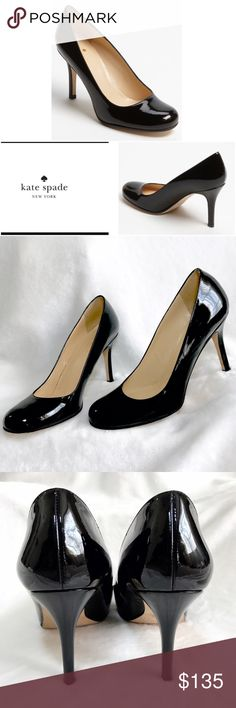 KATE SPADE KAROLINA PUMP BLACK PATENT ♠️ KATE SPADE KAROLINA PUMP IN BLACK PATENT LEATHER . Sleek round toe pump features classic style . Expert craftsmanship. Made in Italy Bought at Nordstrom. I wore them once for an event .They are a size 7.5B . Just lovely classic style . In excellent condition with two tiny nicks shown in last photo . Not even really visible but I do want to foreclose it. Priced accordingly 💜 kate spade Shoes Heels