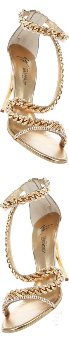 Giuseppe Zanotti for Balmain Gold Jewel Chain Stiletto | LOLO❤︎