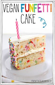 Vegan Funfetti Cake! Also called vegan confetti cake, is a delicious vanilla cake with sprinkles stirred into the batter to make spots of bright color throughout. Perfect for a vegan birthday cake! Deliciously moist and sweet, this rainbow cake is perfect for a birthday party. #itdoesnttastelikechicken #veganrecipes #vegandesserts #vegancake via @bonappetegan
