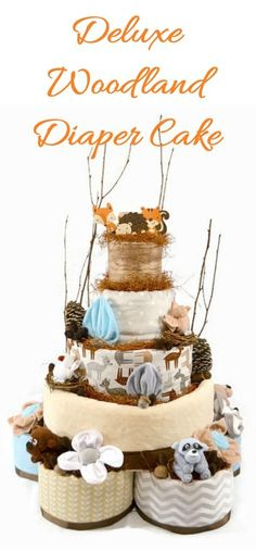 Throwing a woodland baby shower? This deluxe diaper cake standing at over 2 feet tall is sure to be the centerpiece of the baby shower! The new mom will love that it is packed with essentials for the newborn baby that are all usable after disassembly.#ad #etsy #babyshower #woodland #baby #momtobe #diapercake #giftidea #partydecor