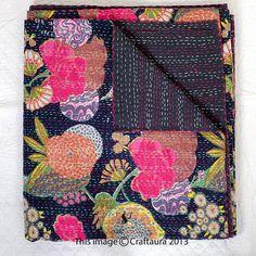 Queen Kantha Quilt In Black Kantha Blanket Kantha by CraftAuraHome, $54.99