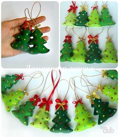 Beaded Felt Christmas Tree Ornaments by valarie Perlen Filz Christbaumschmuck von valarie Gingerbread Christmas Decor, Handmade Christmas Decorations, Christmas Ornament Crafts, Christmas Sewing, Felt Ornaments, Christmas Projects, Christmas Toys, Christmas Crafts, Christmas Ideas