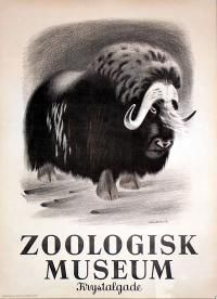 1946 Fairs/Exhibitions, Product / Other Poster: Zoologisk Museum - Musk Ox - Zoo , Country: Denmark , Artist: Aage  Sikker Hansen