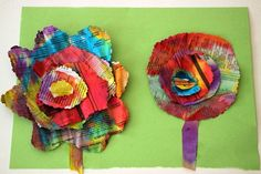 Liquid watercolor & recycled newspaper flower craft for kids! A simple fine motor craft for preschoolers! Fun recycled crafts kid can do for spring! Newspaper Flowers, Paper Flowers For Kids, Newspaper Crafts, Paper Crafts For Kids, Diy Paper, Craft Flowers, Flowers Garden, Spring Flowers, Preschool Art Projects