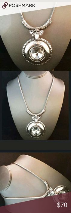 Brighton Bay statement necklace silver and crystal in a 22 inch fall. gorgeous! Brighton Jewelry Necklaces