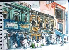 Sketching in Bangalore: Commercial Street | Sketching in India