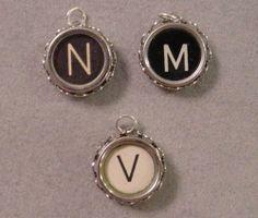 Vintage Typewriter Key Charm or Pendant - Pick any letter B to Z | magic_closet - Jewelry on ArtFire